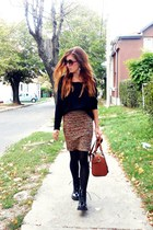 black Tally Weijl boots - black New Yorker sweater - brown Aldo bag