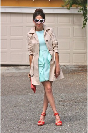light blue Tibi dress - tan Zara coat - red Sergio Rossi heels