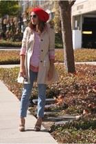 red asos hat - beige Zara coat - light blue J Brand jeans - red Gap shirt