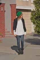 black JCrew blazer - navy J Brand jeans - off white H&M sweater
