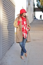 red Old Navy hat - camel JCrew coat - sky blue JCrew jeans - red JCrew shirt