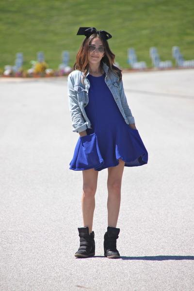 blue nastygalcom dress - light blue BDG jacket - black Target sneakers