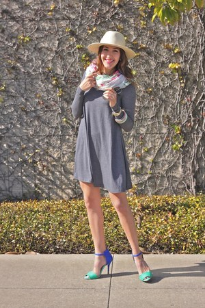 pink Zara scarf - gray asos dress - blue Zara heels