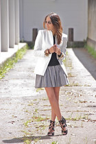 white Zara blazer - black Gap shirt - black Zara heels
