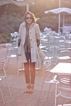 tan Zara jacket - navy J Brand jeans - tan H&M sweater