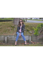 black Zara jacket - sky blue J Crew jeans - red Gap shirt - black Zara pumps