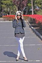 dark green The Limited blazer - white J Brand jeans - black Zara pumps