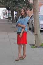 red Jcrew skirt - light blue madewell shirt - black Jcrew shirt