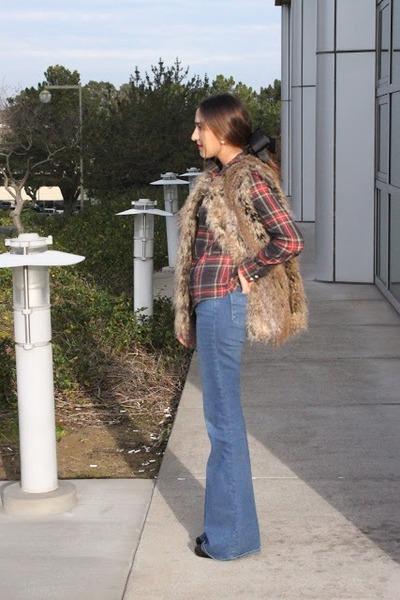 camel Trina Turk vest - sky blue mih jeans - dark gray JCrew shirt