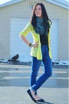 yellow neon Express cardigan - light blue tribal print Forever 21 scarf