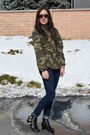 Army-green-unknown-shirt-black-gold-buckle-forever-21-boots