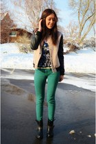 black Forever 21 boots - camel Forever 21 jacket - green PacSun pants