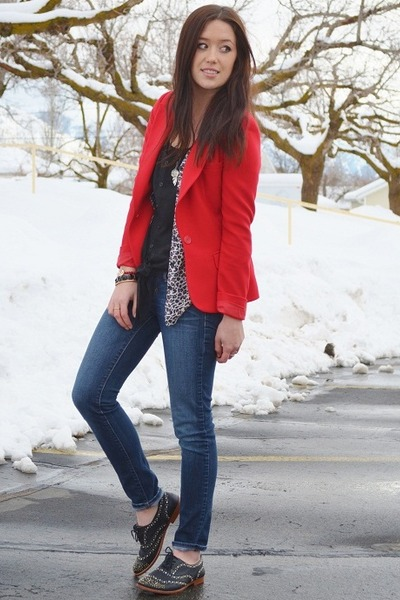 red Forever21 blazer - black Steven by Steve Madden shoes