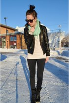 black leather BDG jacket - black Steve Madden boots