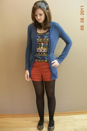 Forever21 shorts - Forever 21 tights - Forever 21 cardigan - Forever 21 top