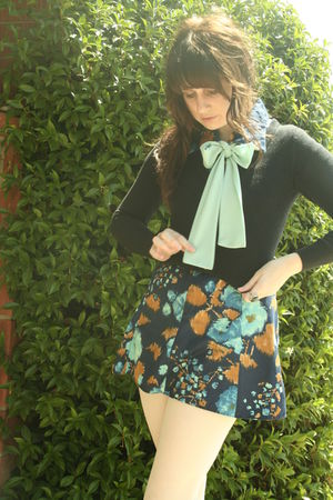 blue vintage dress - black Forever 21 cardigan - white Target tights