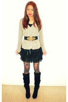 heather gray NY Collection sweater - I made the skirt skirt - Forever 21 belt -