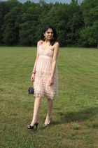 peach H&M dress - navy vintage from Ebay purse - Anne Klein heels - silver vinta