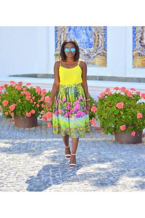 Ray Ban sunglasses - asoscom skirt - Topshop top