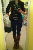 navy J Crew sweater - brown Aldo boots - Gap jeans - navy Gap blazer