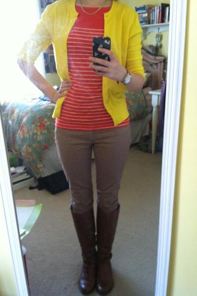 yellow francescas necklace - brown Aldo boots - camel Gap jeans