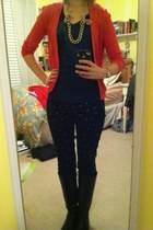 red American Eagle cardigan - black boots - navy Gap jeans - J Crew necklace