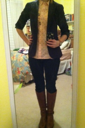 pink madewell blouse - brown Aldo boots - navy Gap jeans