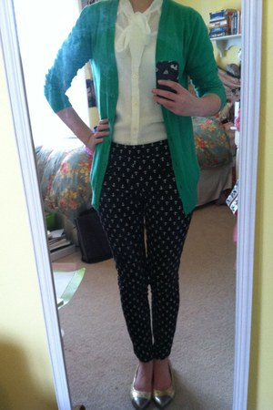 green Gap cardigan - black Gap pants - white Ann Taylor Loft blouse