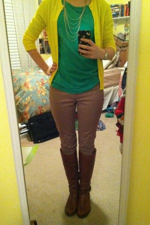 yellow J Crew cardigan - brown Aldo boots - tan Gap jeans - green Gap shirt