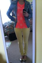 hot pink Accessorize t-shirt - light yellow Gap jeans - sky blue jacket