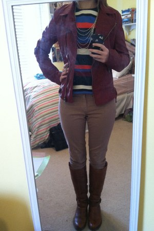 brown Aldo boots - tan Gap jeans - brick red leather Forever 21 jacket