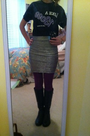 silver Forever 21 skirt - black boots - purple Target tights - black t-shirt