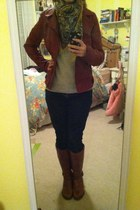 bronze Aldo boots - Gap jeans - brick red Forever 21 jacket - silver Gap sweater