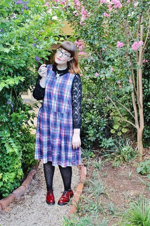 black leopard print asos tights - maroon truffle shoes - blue asos dress