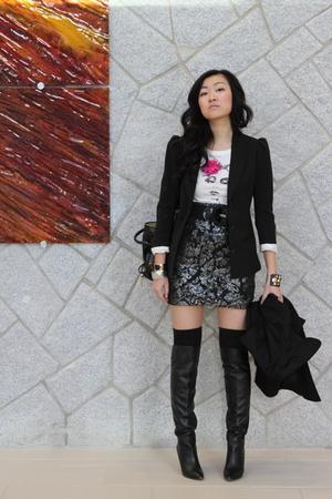 H&M blazer - Guess boots - H&M skirt