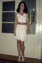 off white romwe dress - tawny Eponge belt