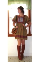 MIskabelle dress - vintage boots - vintage purse