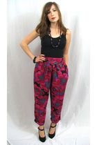 pink MIskabelle pants - black top - black shoes