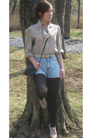 beige MIskabelle blouse - blue calvin klein shorts - black tights - beige MIskab