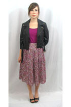 black Charlotte Russe jacket - purple shirt - purple vintage skirt - black BCBG