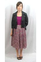 black Charlotte Russe jacket - purple shirt - purple vintage skirt - black BCBG