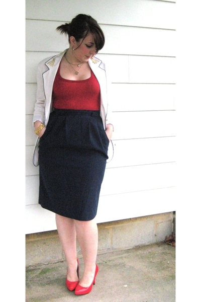 vintage blazer - vintage skirt - My Own top