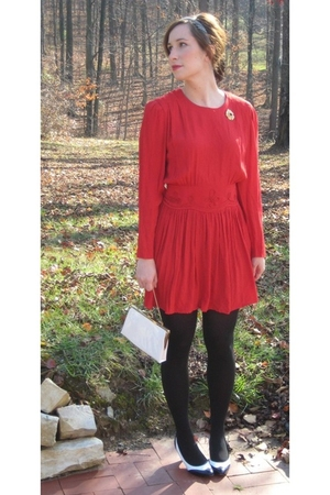 red dress - black tights - black shoes