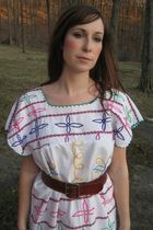 white vintage dress - brown vintage belt - brown vintage shoes