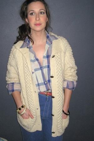 white MIskabelle sweater - blue MIskabelle jeans - blue MIskabelle blouse - blue