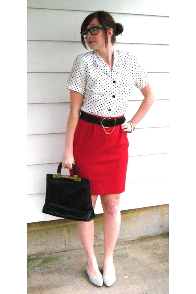 vintage blouse - vintage belt - vintage skirt - vintage purse - vintage shoes