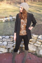 brown MIskabelle blouse - black blazer - gray hat - gray MIskabelle boots