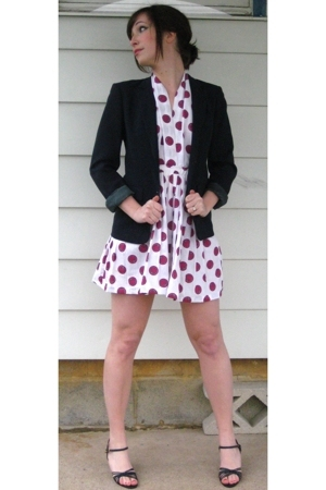 refurbished vintage dress - vintage blazer - vintage shoes