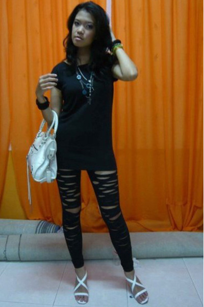 t-shirt - just d orange leggings - balenciaga purse - urs shoes - bracelet - nec