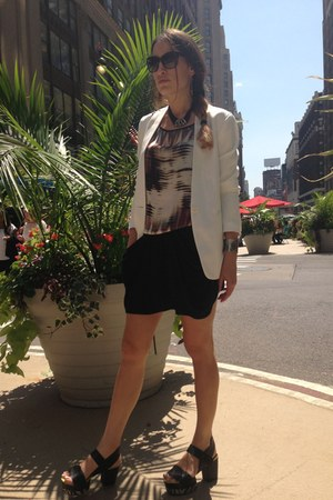 white silk cotton Theory blazer - black Dolce&Gabbana glasses - Matiko sandals